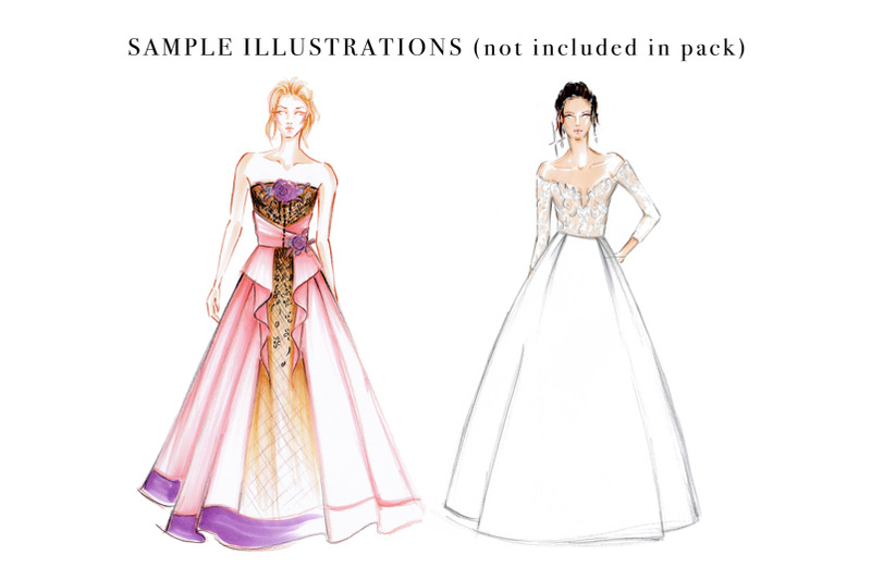 Female Fashion Figure Croquis Pack Template for Fashion ...