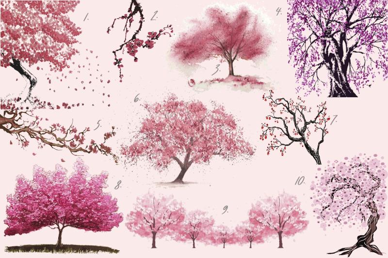sakura-bloom-flowers-branches-trees-vector-illustrations