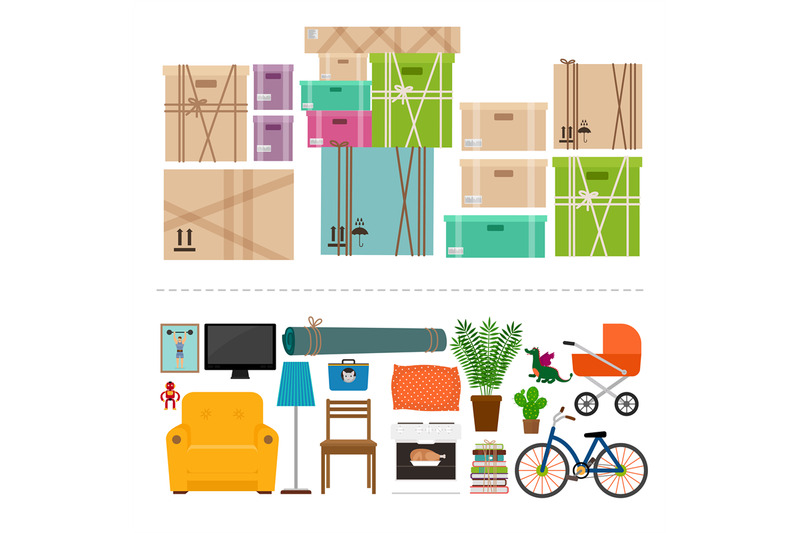 furniture-and-boxes-icons-set