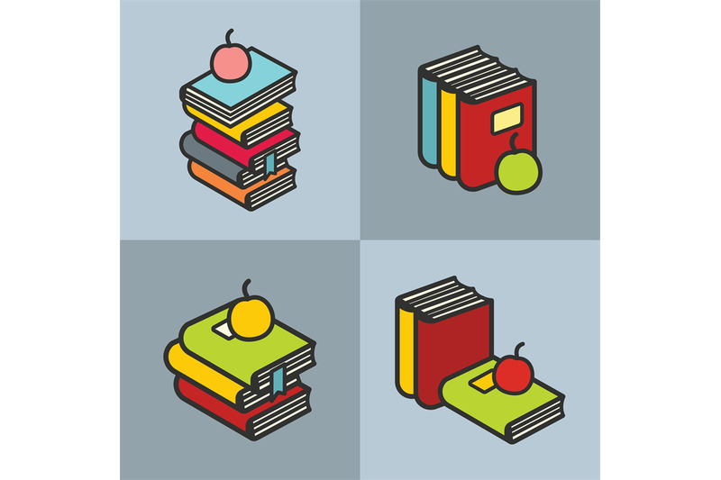 stack-of-books-with-apple-in-line-flat-style