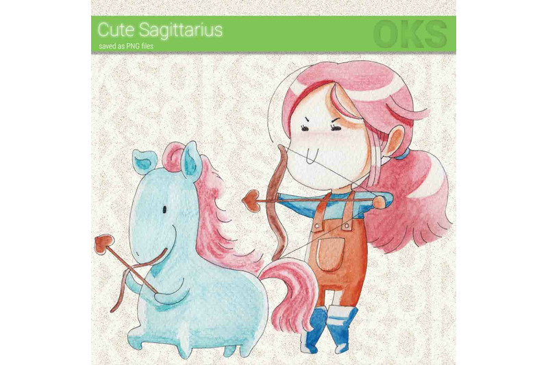 sagittarius-watercolor-clipart-zodiac-sign-instant-download-png