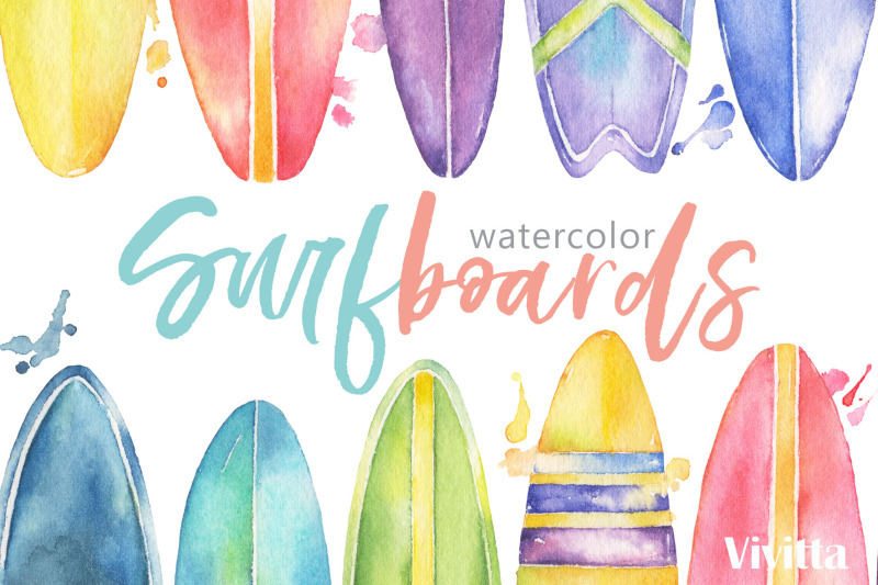 surfing-watercolor-surfboards