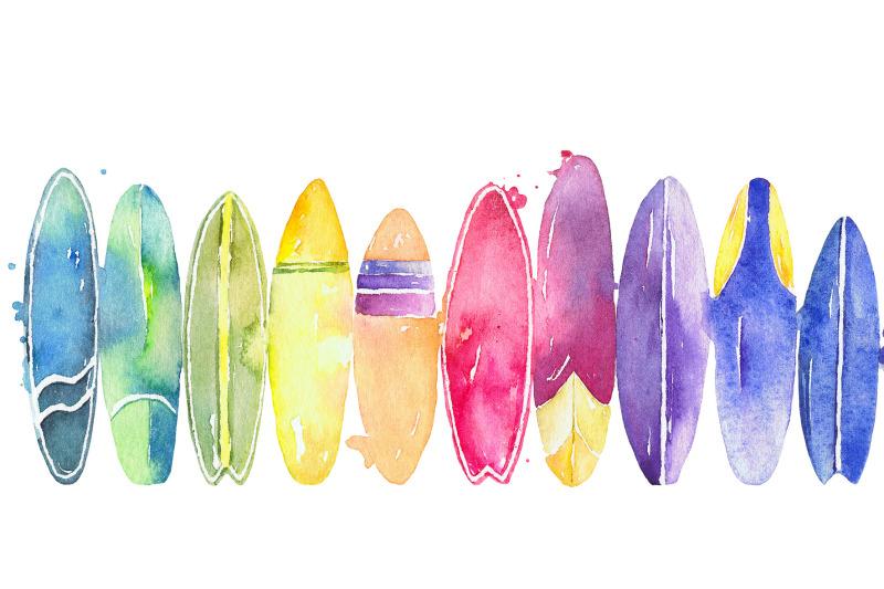 surfing watercolor clipart set  vivitta thehungryjpegcom