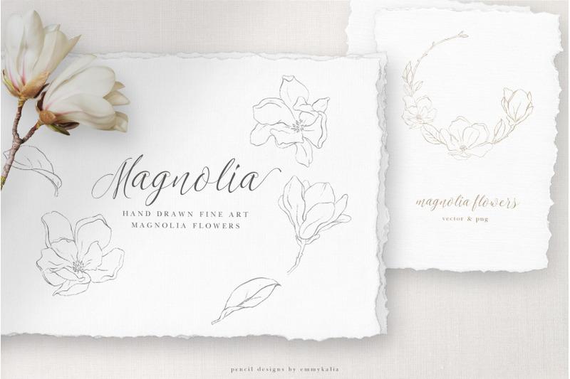 magnolia-flower-modern-art-set