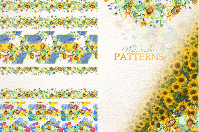 bouquets-with-sunflowers-watercolor-png