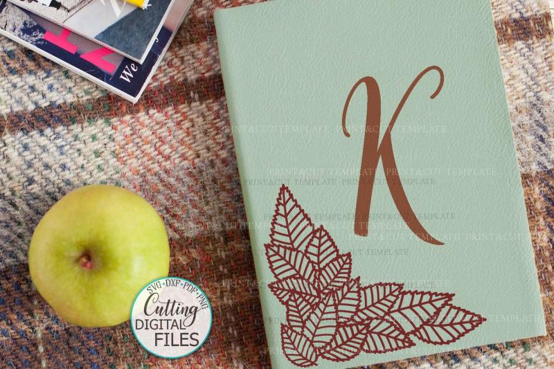 Leaves Monogram Corner Border Divider Paper Cut Svg Template By