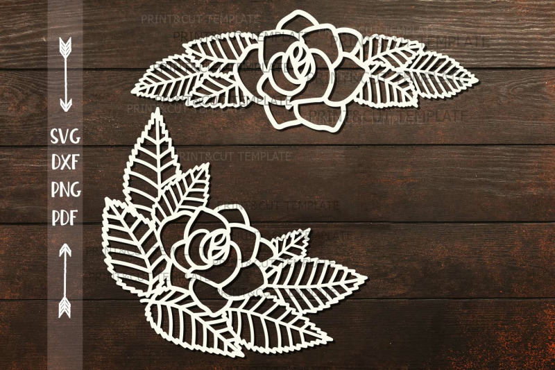 Rose Leaves Divider Border Corner Paper Cut Svg Dxf