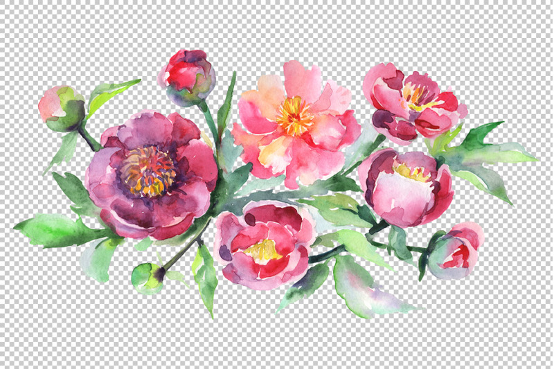 bouquet-with-pink-peonies-watercolor-png