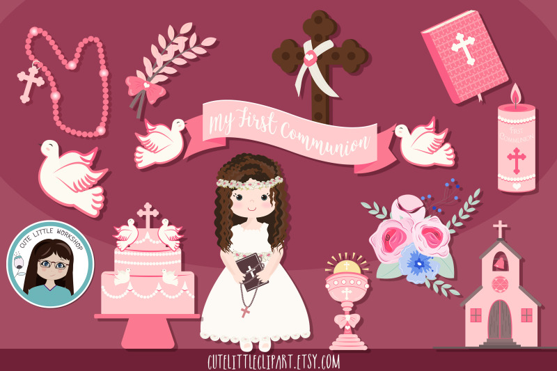 girl-first-communion-pink-theme