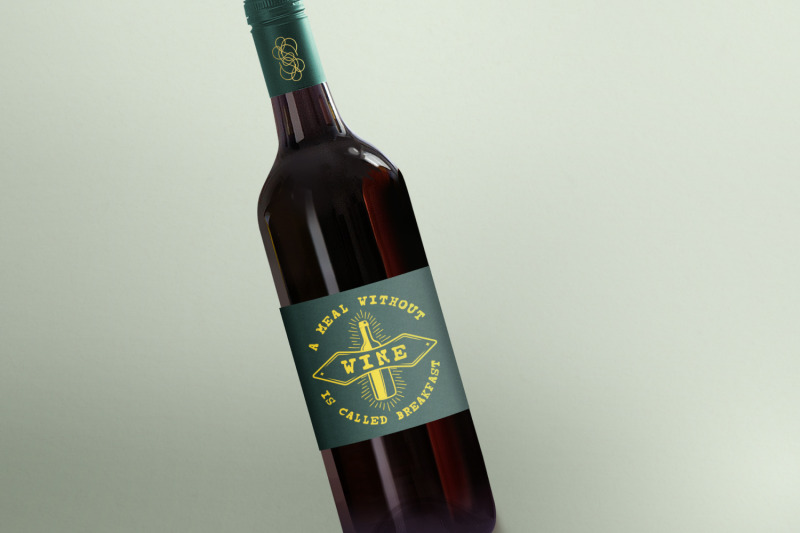 Download Red Frosted Glass Bottle With Wine Mockup Yellowimages