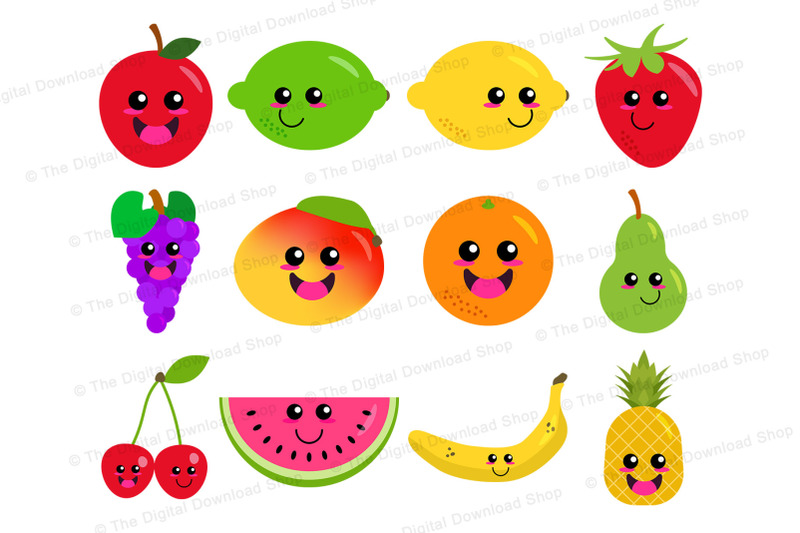 Happy Fruit Clipart Cute Fruit Graphics Kawaii Food Healthy Food By Digital Download Shop Thehungryjpeg Com