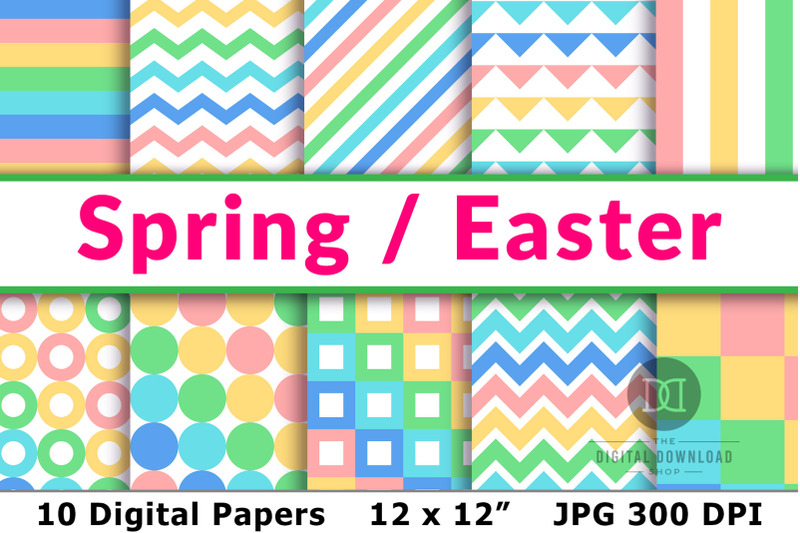 spring-digital-papers-easter-digital-papers-spring-patterns