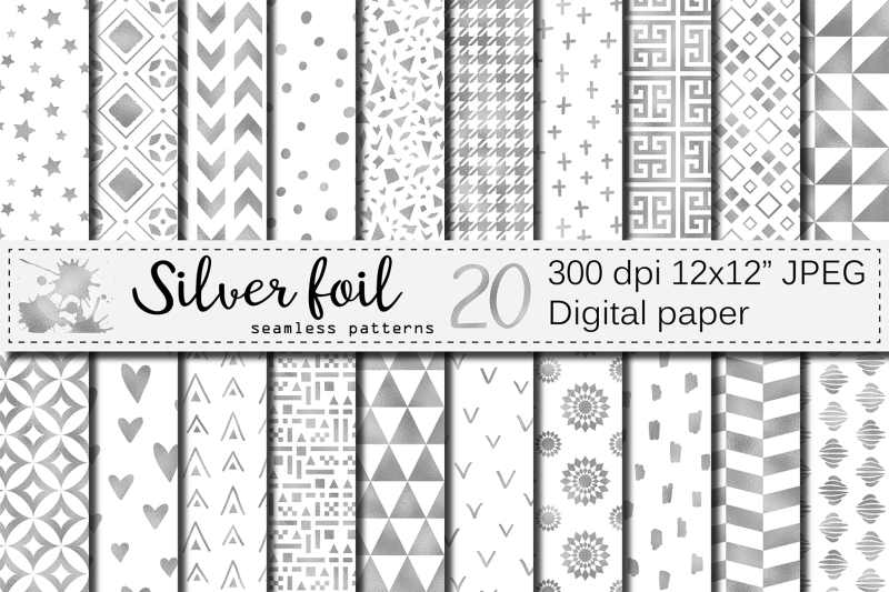 silver-foil-seamless-geometric-patterns-silver-digital-papers