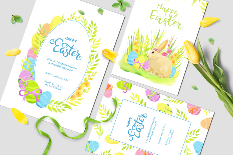 happy-easter-invitations-and-cards-vector-set
