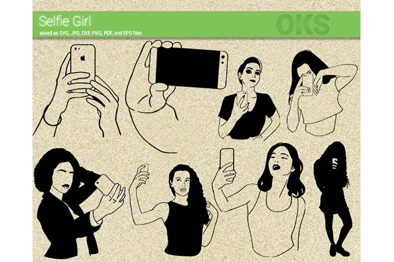 selfie-girl-svg-svg-files-vector-clipart-cricut-download