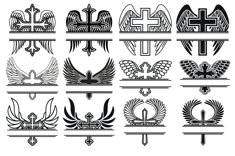 Cross With Wings Monogram Frame Svg Cross Svg Wings Cross Svg By
