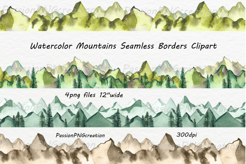 watercolor-mountains-seamless-borders-clipart