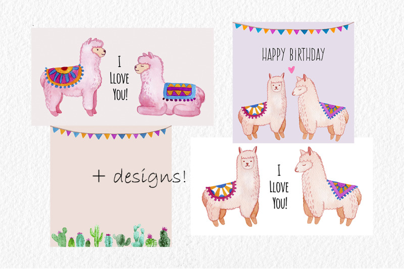 cute-alpaca-watercolor-clipart-set