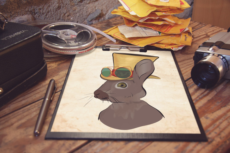 illustrations-of-a-grey-cat-and-steampunk-style-rabbit-with-hat-and-gl