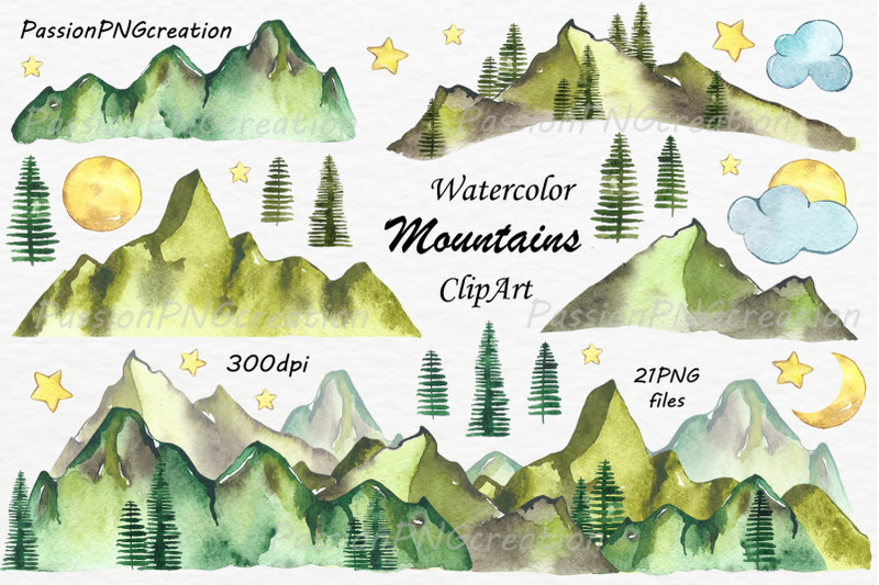 big-set-of-watercolor-mountains-clipart-png-watercolour-mountain