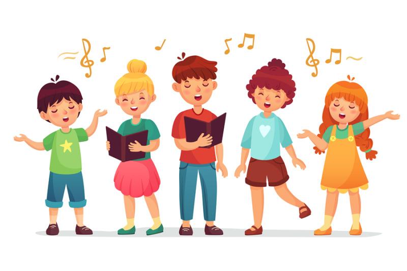 Singing kids. Music school, kid vocal group and children ...