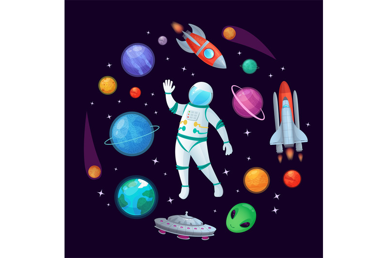 cartoon-astronaut-in-space-spaceman-rocket-stary-ufo-spaceship-and-p