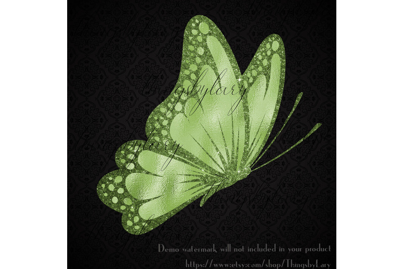 30 Greenery Foil And Glitter Butterfly Digital Images By