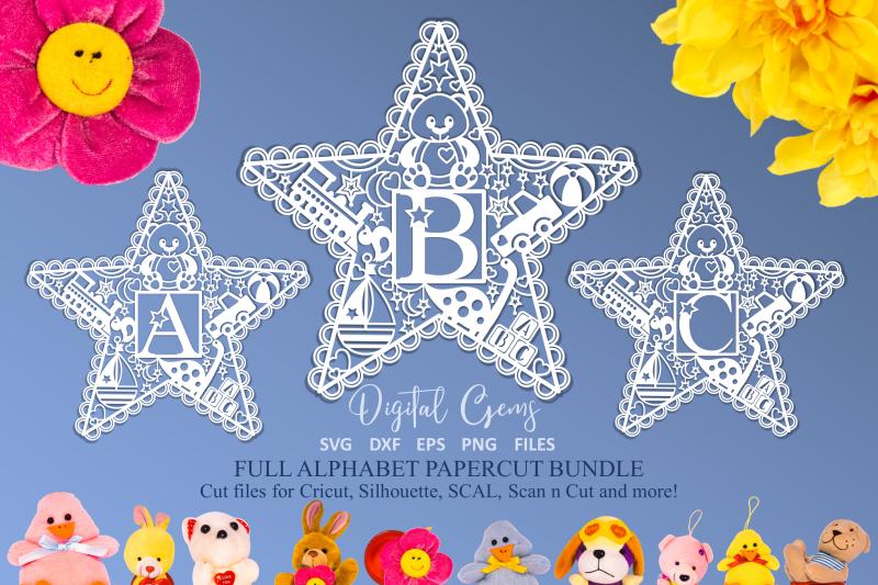 alphabet-kids-star-paper-cut-designs-svg-dxf-eps-png-files