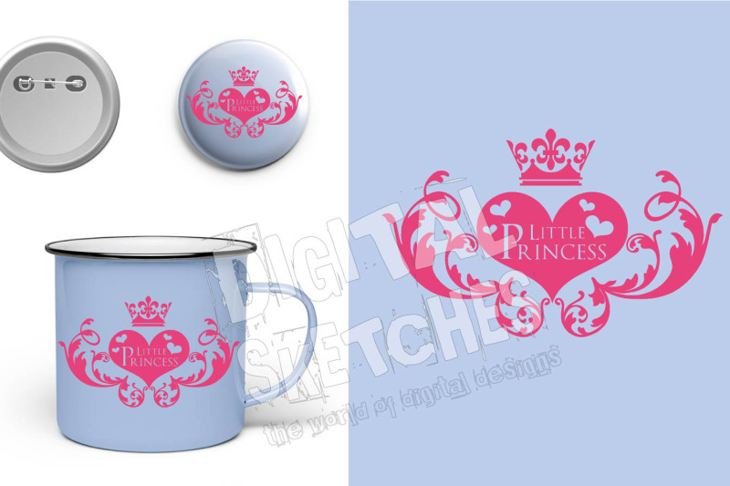 Little Princess Crown Heart Saying Cut File Silhouette Vector Svg