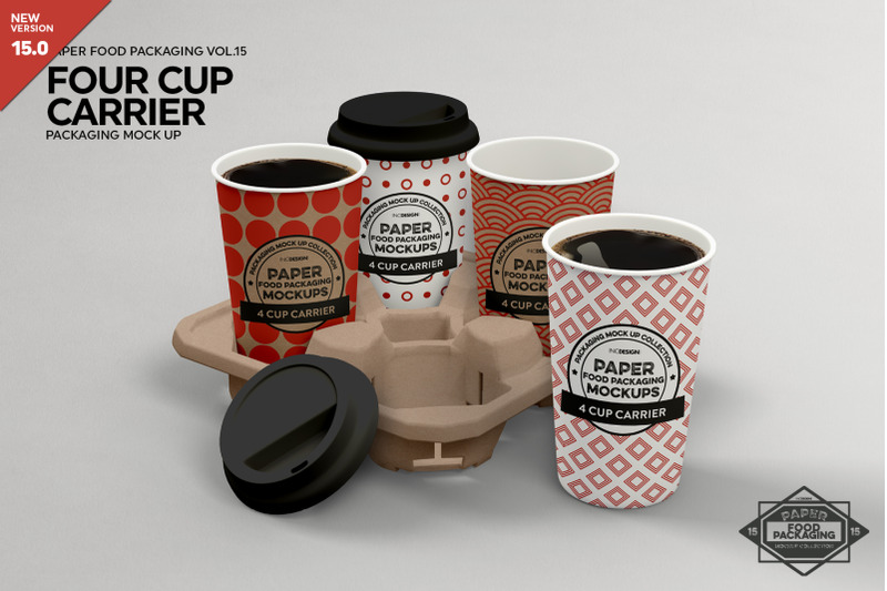 Free 4-Cup Carrier Packaging Mockup (PSD Mockups)