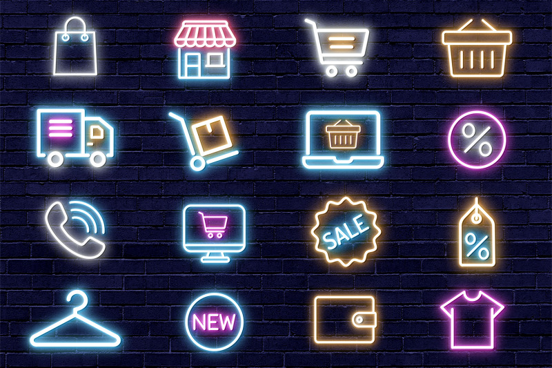 Neon Tubes Instagram Shop Icons By North Sea Studio ...