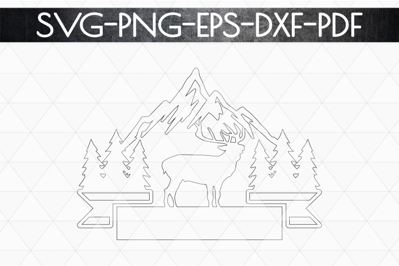 wild-reindeer-sign-papercut-template-adventure-svg-dxf-pdf