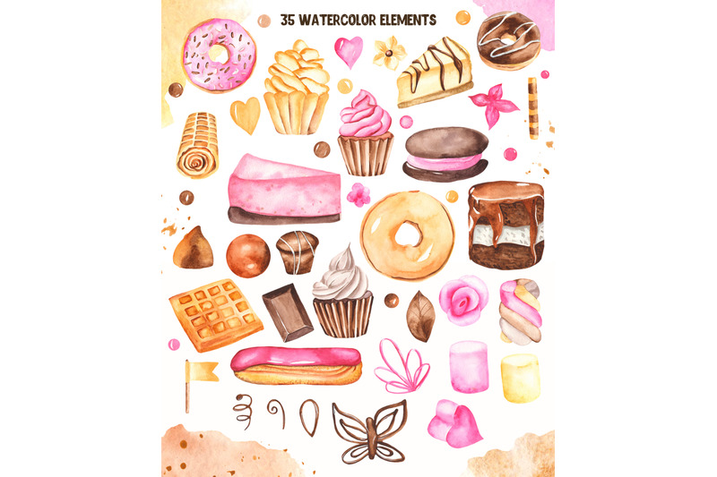 sweets-watercolor-clipart