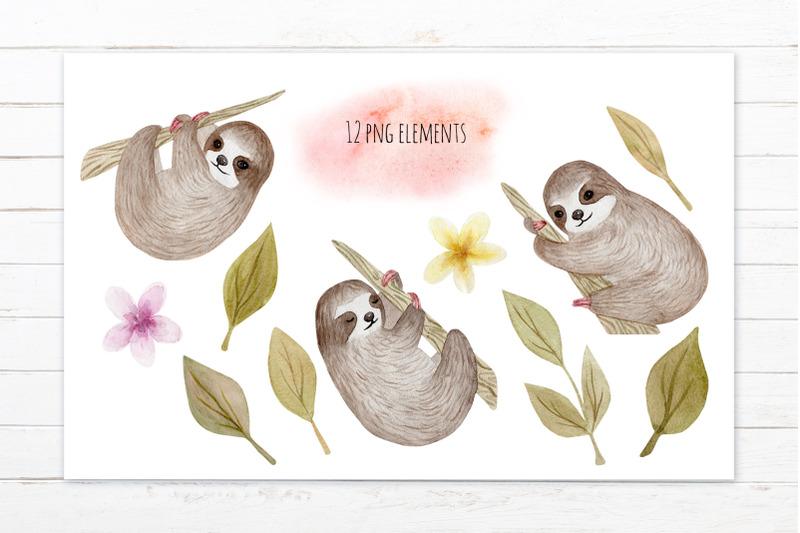 cute-sloth-watercolor-patterns