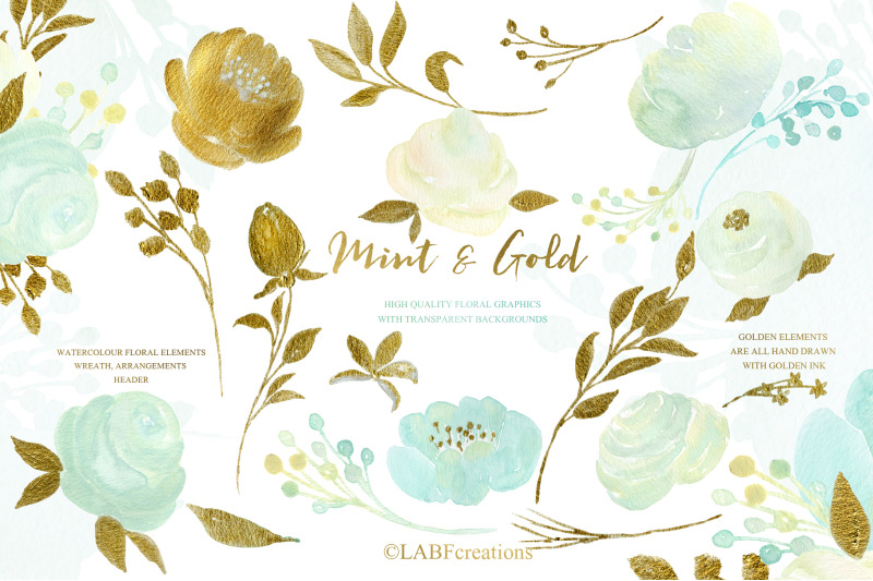 mint-and-gold-watercolor-floral-clipart