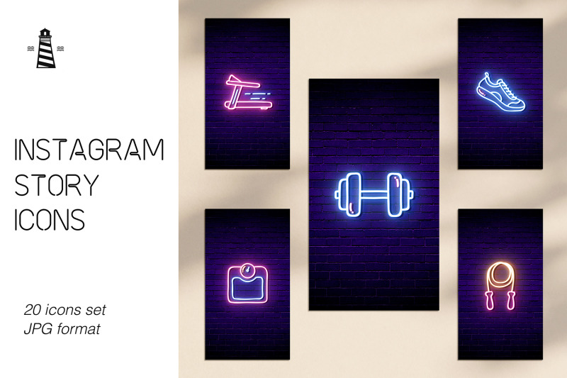 gym-instagram-icons-neon-design
