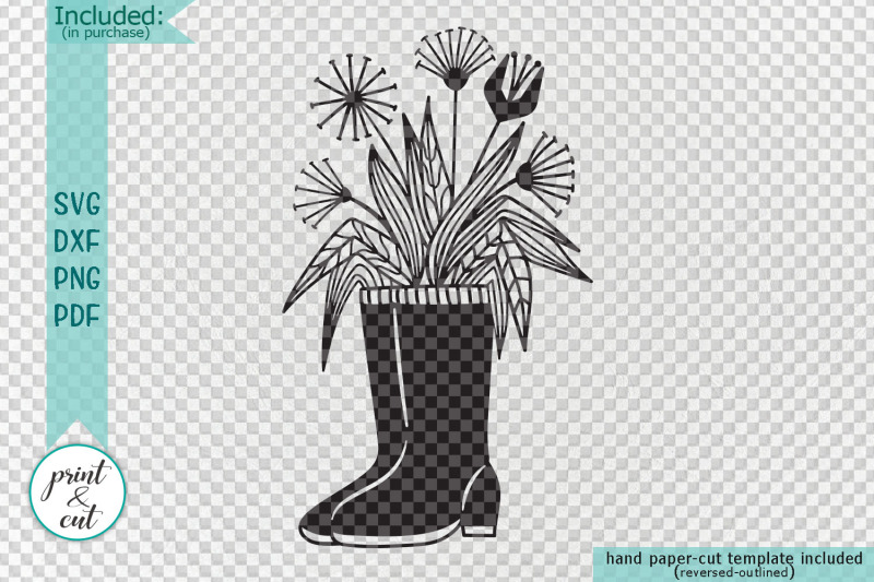 flowers-wellies-rain-boots-svg-dxf-laser-paper-cut-out-template