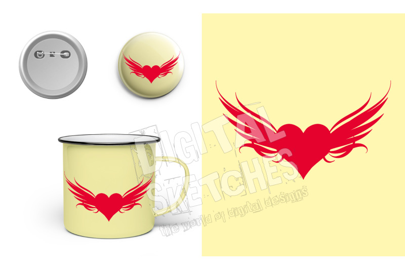 Heart Wings Cut File Silhouette Vector Valentine S Day Svg Dxf