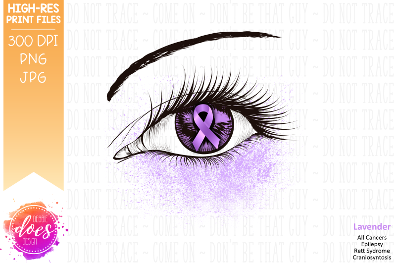 picture relating to Printable Eye known as Lavender Information Ribbon Eye - Printable Style Via Debbie