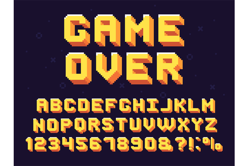 Pixel Game Font Retro Games Text 90s Gaming Alphabet And