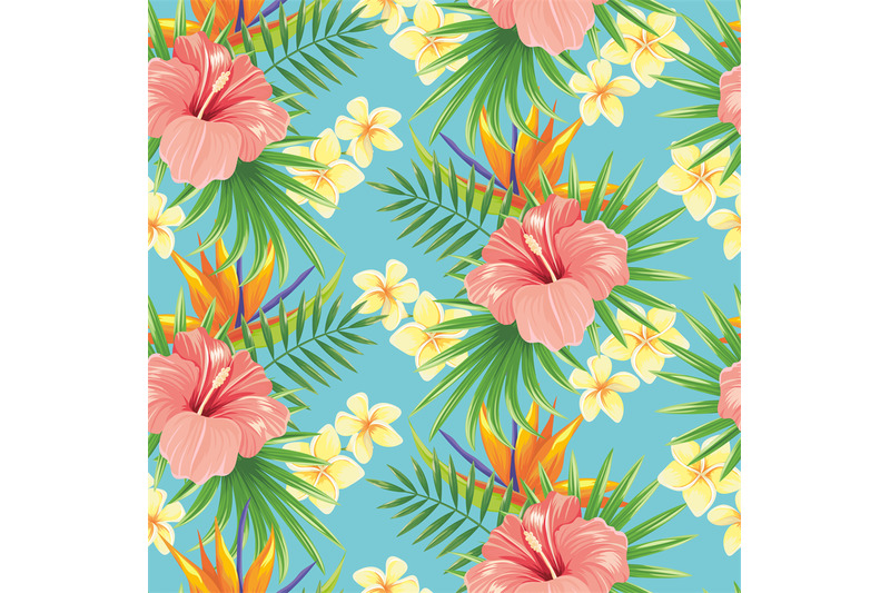 flowers-seamless-pattern-stylish-spring-flower-tropical-plants-leave