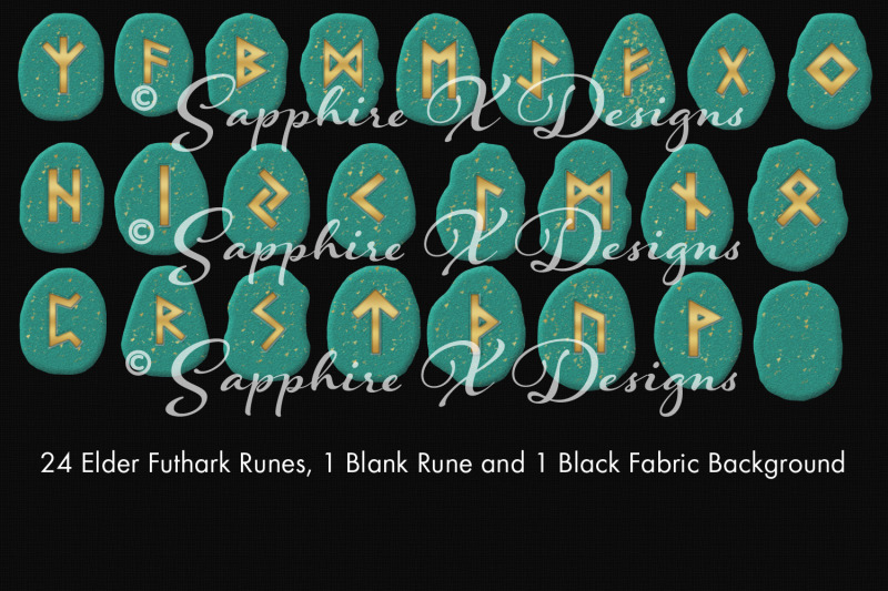 elder-futhark-runes-turquoise-runestone-clipart