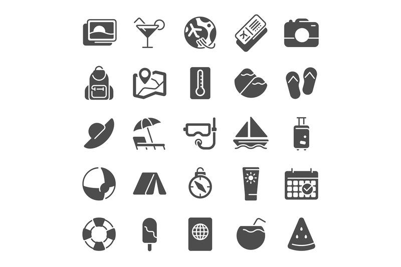 summer-pictogram-icons-sea-beach-umbrella-pool-party-and-summer-vaca