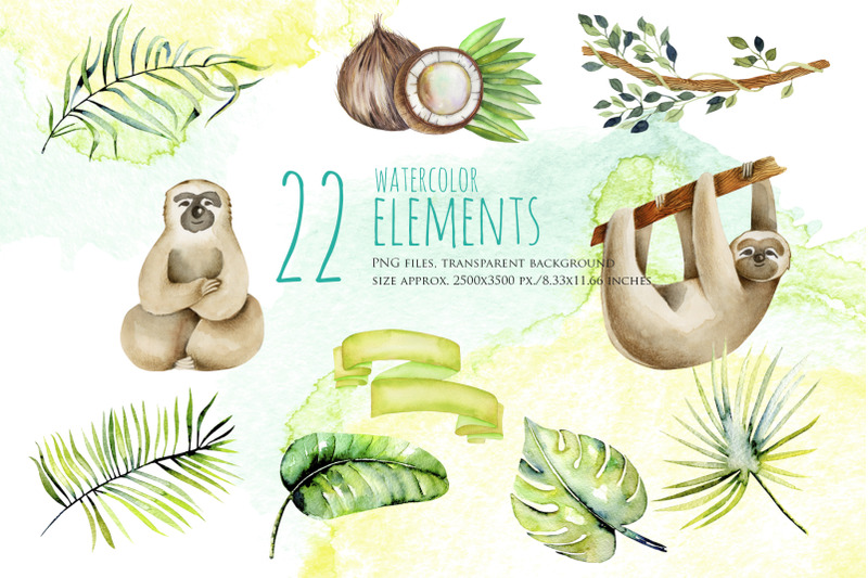 sloths-family-watercolor-clipart