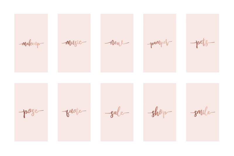 Instagram Highlight Covers Rose Gold On Pink By Design Owl