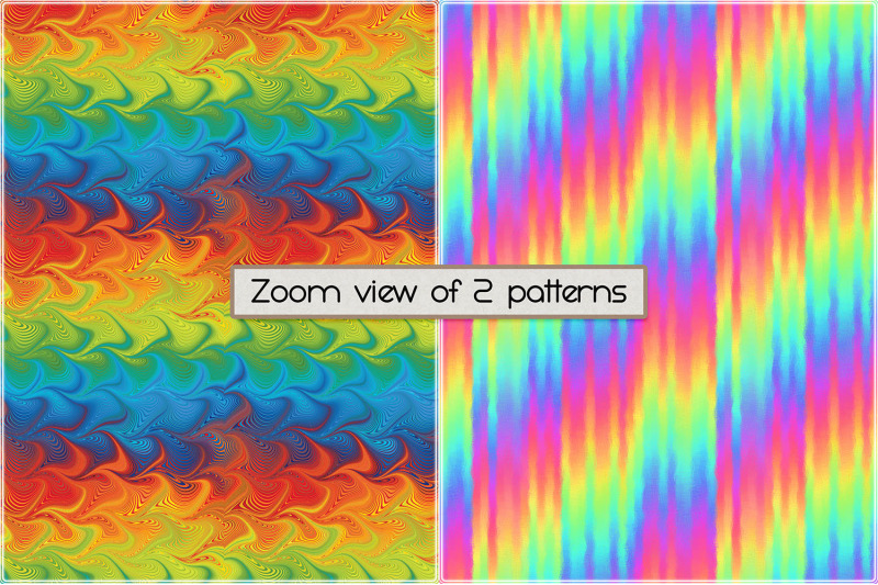 Rainbow Colored Seamless Patterns By Heather Green Designs