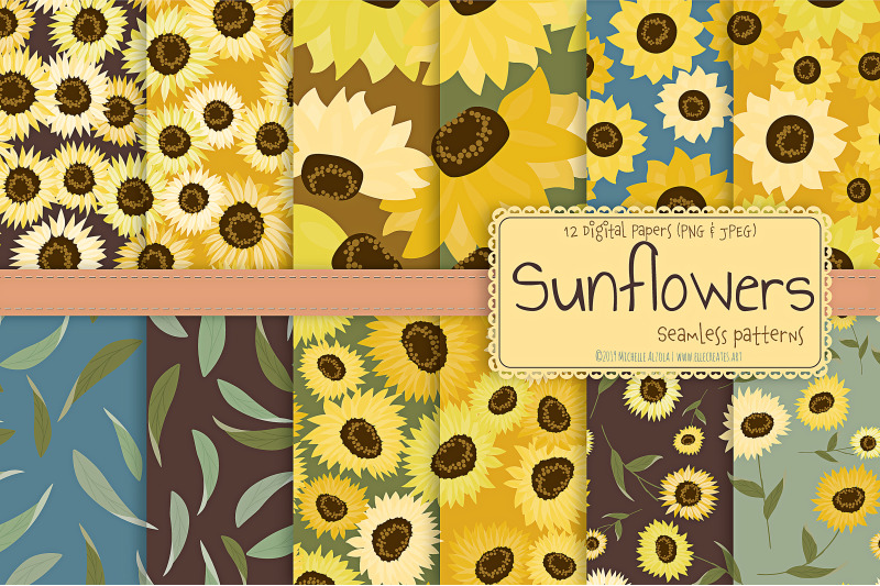 sunflowers-seamless-patterns-and-digital-papers
