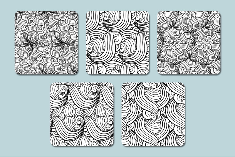 black-and-white-waves-patterns-set