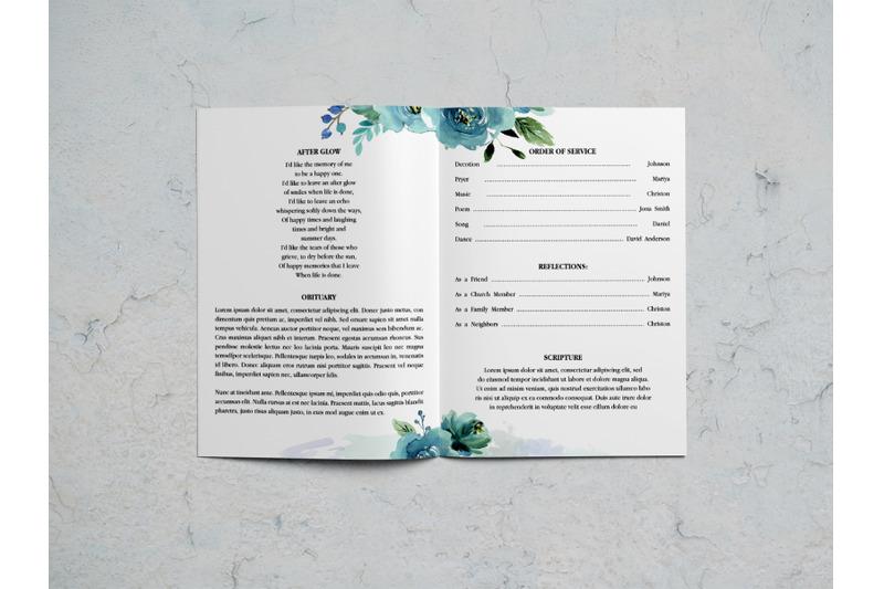 blue-watercolor-flower-funeral-program-template