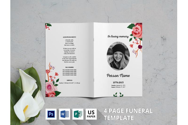 watercolor-flower-funeral-program-template